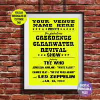 Creedence Clearwater Revival - Played at YOUR Music Venue! printable A4 Poster