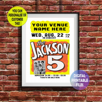 Jackson 5 - Played at YOUR Music Venue! printable A4 Poster Wall Art Print.