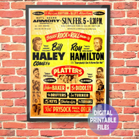 Biggest Rock 'n Roll Show 1956 Concert Poster. Personalised, printable A4 Poster
