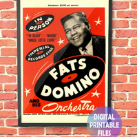Fats Domino Concert Poster. Personalised, printable A4 Poster Wall Art Print.