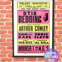 Otis Redding Concert Poster. Personalised, printable A4 Poster Wall Art Print.