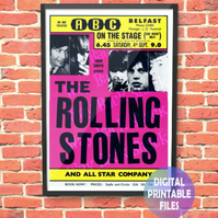 Rolling Stones Concert Poster. Personalised, printable A4 Poster Wall Art Print.