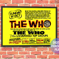The Who Concert Poster. Personalised, printable A4 Poster Wall Art Print.