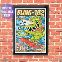 Blink-182 Concert Poster, printable A4 Poster Wall Art Print.