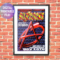 Buzzcocks Concert Poster 2010. Personalised, printable A4 Poster Wall Art Print.