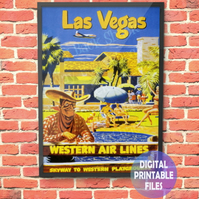 Las Vegas Western Airlines Poster, printable A4 Poster Wall Art Print.