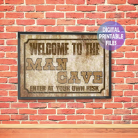 Man Cave Poster. Printable A4 Poster Wall Art Print.