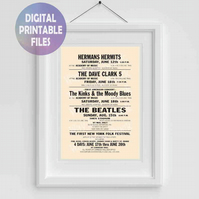 Beatles Concert Poster. Shea Stadium printable A4 Poster Wall Art Print.