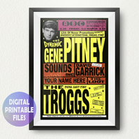 YOU appear with Gene Pitney on this Concert Poster. Personalised, printable A4 P