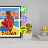 Customisable 'By The Pool' Print, A4 Poster Wall Art Print.