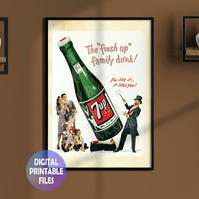 7up restored vintage poster. Printable A4 Poster. Wall Art Print.