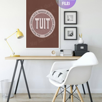 'A Round TUIT' poster. Printable A4 Poster. Wall Art Print.