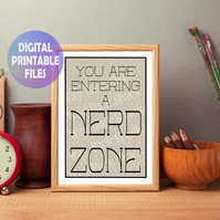 Nerd Zone poster. Printable A4 Poster. Wall Art Print.