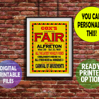 Vintage Fairground Advertising Poster. Wall Art Print. Customised Gift.  A4 size