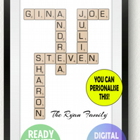 Family tree scrabble A4 print gift. Sign. Crossword. family names. Personalised.
