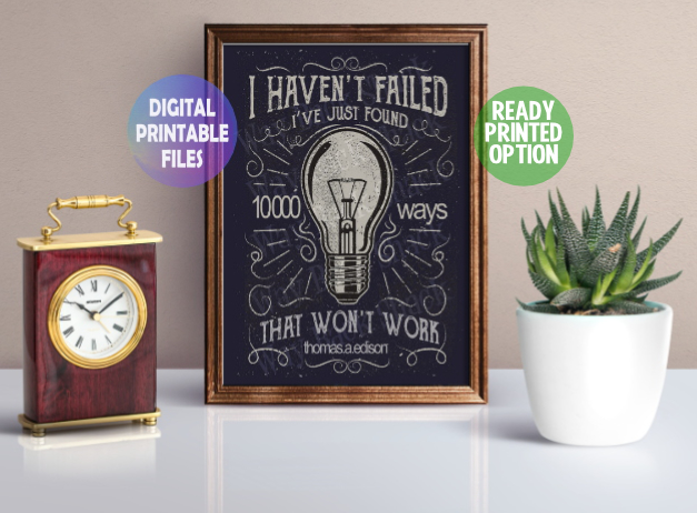 10,000 Ways Poster. A4 Poster Wall Art Print.  Edison Quote
