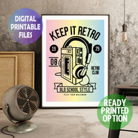 Keep it retro. A4 Poster Wall Art Print.  Retro art walkman.