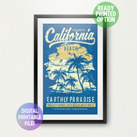 California Beach poster. A4 Poster Wall Art Print.  Los Angeles, Paradise.
