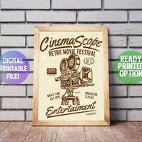 Cinema Scope poster. A4 Poster Wall Art Print. Film. Movies
