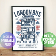 London bus poster. A4 Poster Wall Art Print.  England, UK