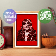 Kurt Cobain Word Art. A4 Wall Art Print.  Rock Star, Nirvana,