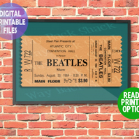 Redesigned Beatles Concert Ticket A4 Wall Art Print.