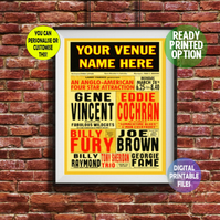 Gene Vincent - Played at YOUR Music Venue! printable A4 Poster Wall Art Print.