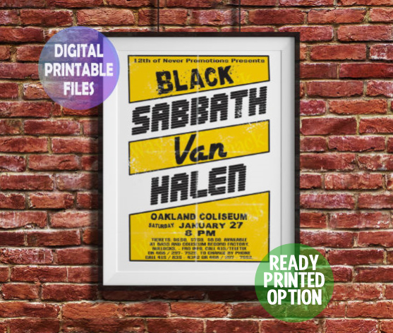 Black Sabbath - Van Halen Concert Poster. Customisable, A4 Poster Wall Art
