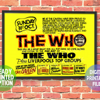 The Who Concert Poster. A4 Poster Wall Art Print.
