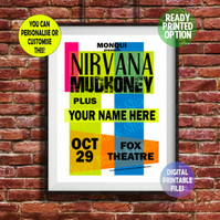 YOU appear with Nirvana on this Concert Poster. Personalised A4 Poster Wall Art