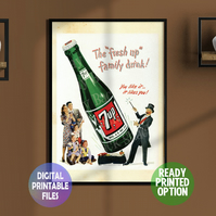 7up restored vintage poster. A4 Poster. Wall Art Print.