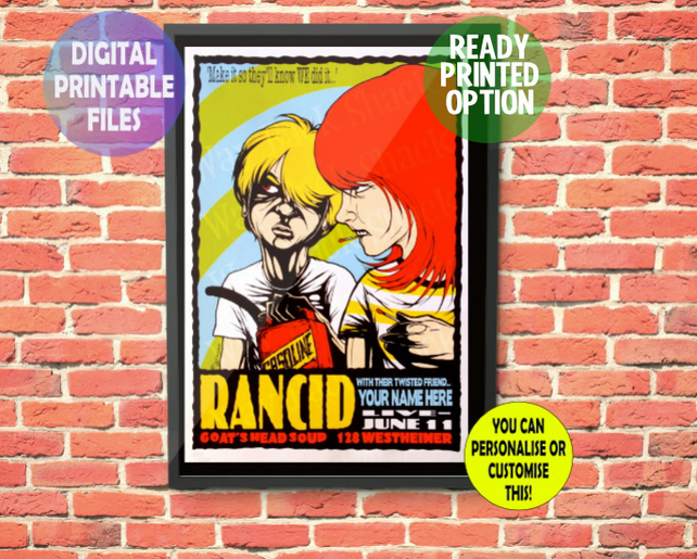 YOU appear with Rancid on this Concert Poster. Personalised, A4 Poster Wall Art