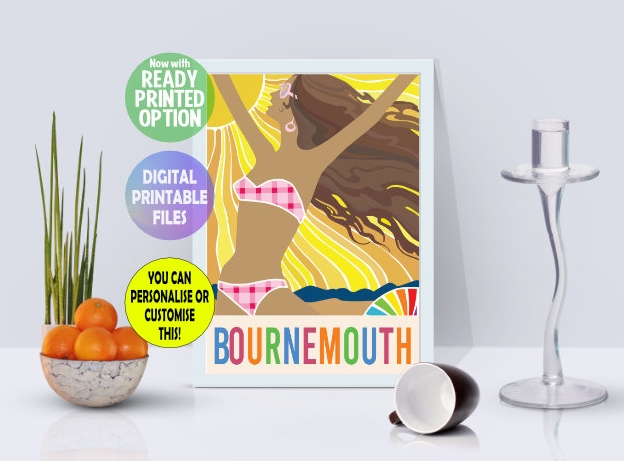 Customisable Sunshine Girl Bournemouth Poster, A4 Print Wall Art Print