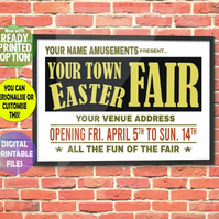 1960's Fairground Advertising Poster. Wall Art Print. Customised Gift.  A4 sized