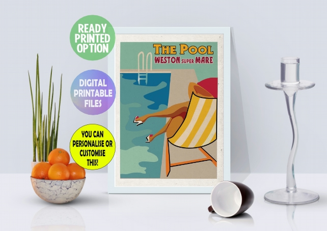 Customisable -  The Pool – Weston Super Mare Poster, printable A4 Wall Print