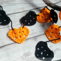Enchanted Halloween Bunting, Garland, Handmade, Crochet, Gift,