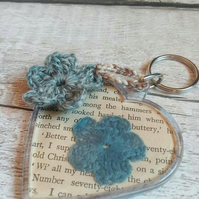 Crochet Flower Keyring - Page of Enchantment, Blue