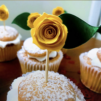 Yellow paper rose cake topper, cupcake topper,, cake decorations