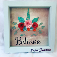 "Unicorn ""Believe"" picture frame"