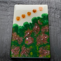 Resin tile with amazing seeds, green & pink lacing