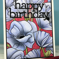 Happy Birthday Card with Blue Poppies