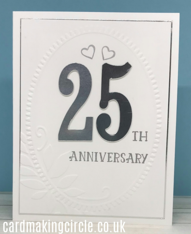 25th Wedding Anniversary Card - White and Silver