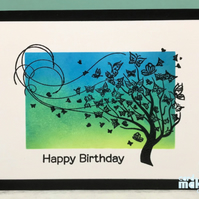 Happy Birthday Card - Butterflies and Tree