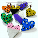 Hand painted wooden heart brooch