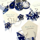 Sparkly blue polymer clay earrings