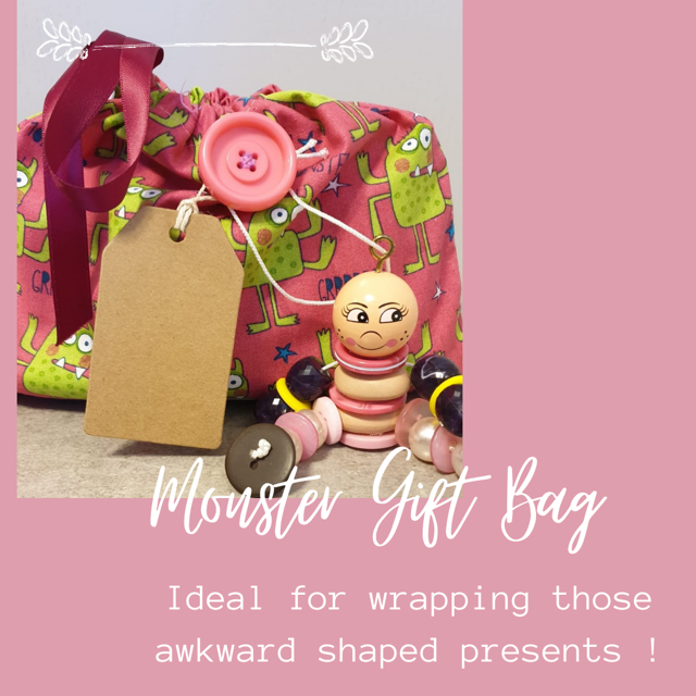 Pink Monster Gift Wrap Bag