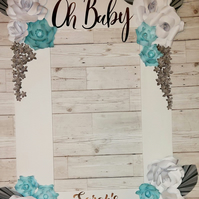 "Personalised baby shower selfie frame A1 33""x23"""