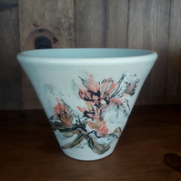 Wheel thrown Stoneware vase with Rhododendron flower design