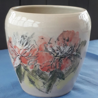 Wheel Thrown Stoneware Vase with Peony Flower Design