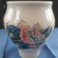 Handmade Wheel Thrown Vase with Peony Flower Design